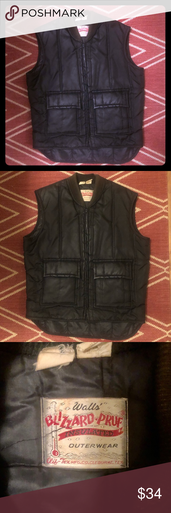 Men S Vintage Walls Insulated Vest Size Medium Stay Warm And Look