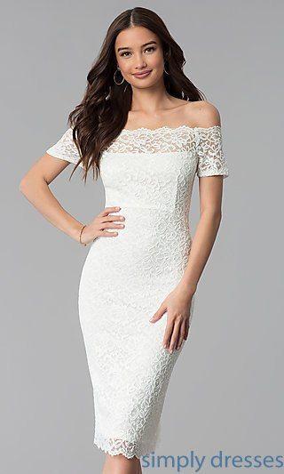 Knee Length Lace Wedding Guest Dresses