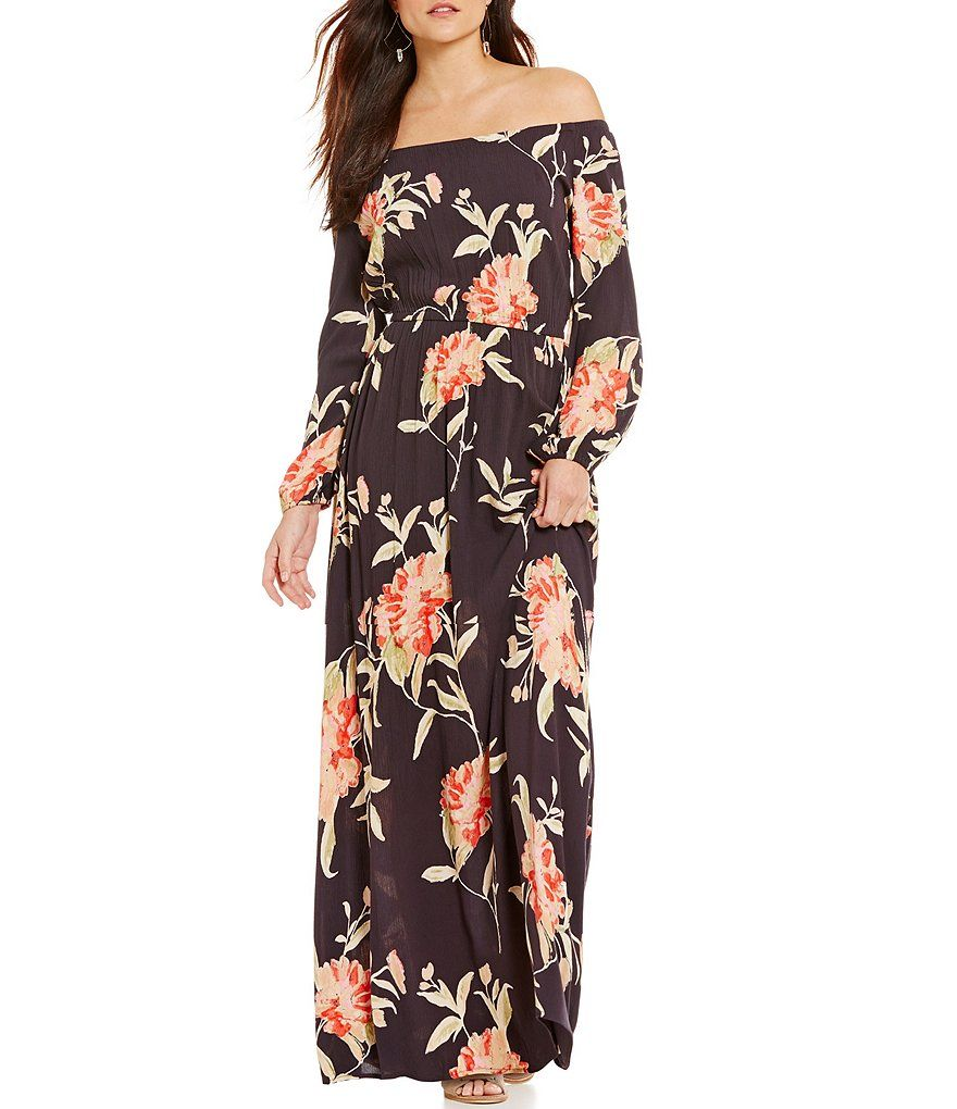 Billabong Crystal Ball Floral-Print Off-the-Shoulder Maxi Dress ...