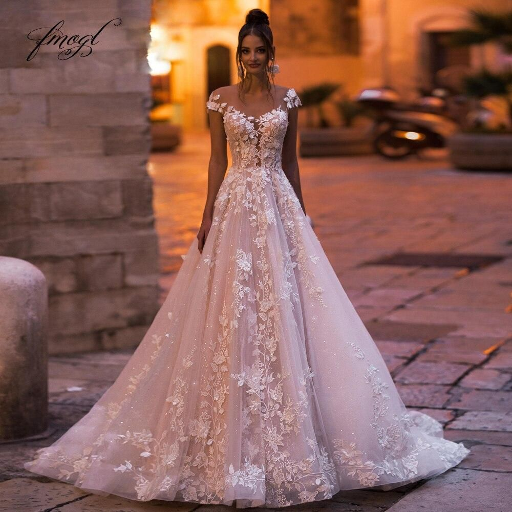 Lace Cap Sleeve A Line Bridal Wedding Ball Gown wi