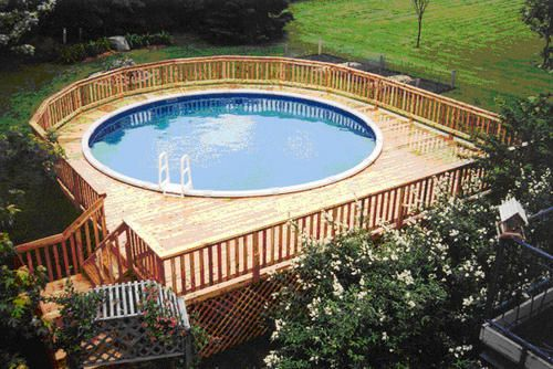 27 X 30 Walk Around Pool Deck For A 21 Pool At Menards Pool Deck Plans Swimming Pool Decks Above Ground Pool Landscaping