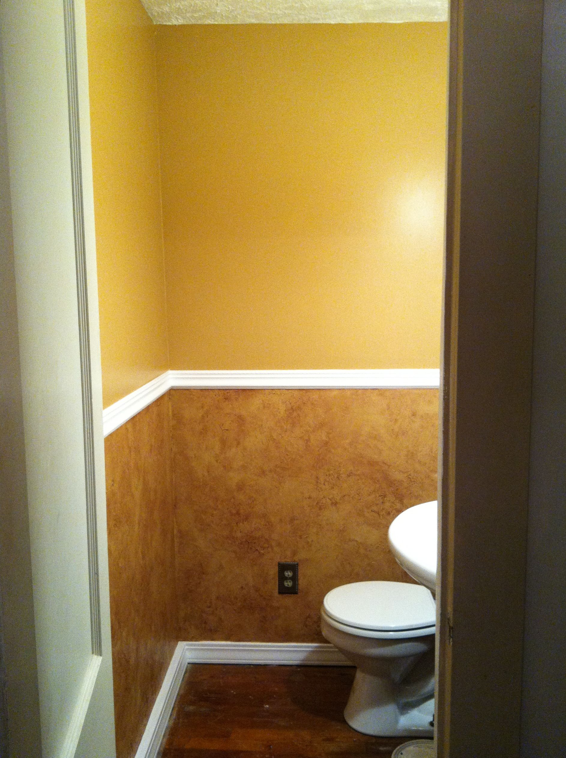 1/2 Bath After I Painted It In Behr Peanut Butter Satin With Faux Finish  Below.