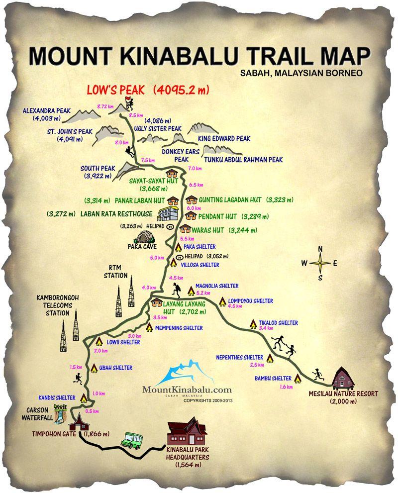 Mt Kinabalu Trail Map Mount Kinabalu Travel Fascinating