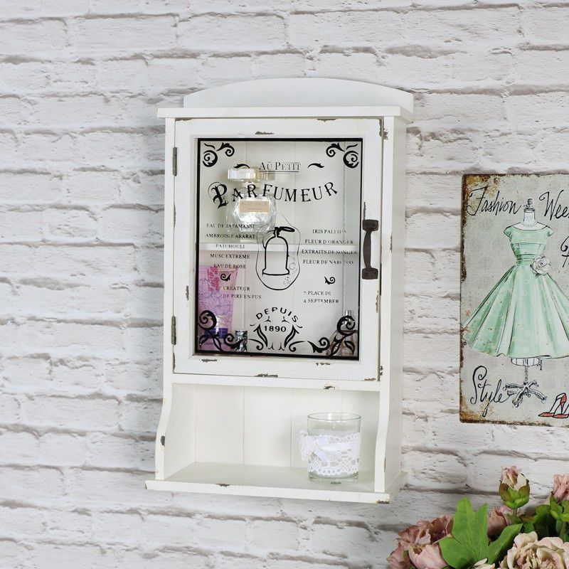 Cream Vintage Style Bathroom Wall Mounted Cabinet Glass Door Shabby French Chic Melodymaison Frenchcountry Shabbychicbathroomsfrench Bathroom Styling Shabby Chic Interiors Vintage Bathrooms