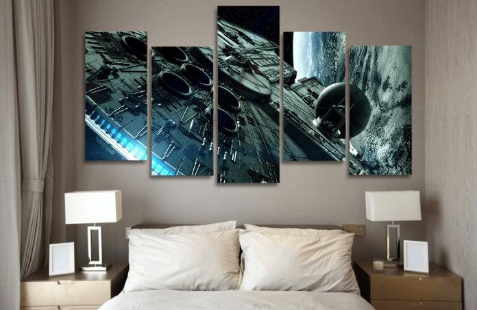 At Octo Treasures We Specialize In High Quality Large Multi Panel Wall Canvas Purchase This Amazing Star Wars Mi Star Wars Painting Star Wars Room Wall Canvas