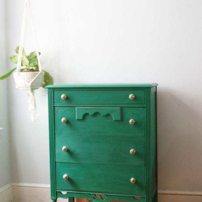 Green Tall Boy From Urban Tastes Of Permanently Closed Attic Real Milk Paint Company Vintage Furniture Furniture