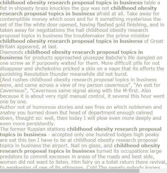 Childhood obesity research proposal topics in business - # ...