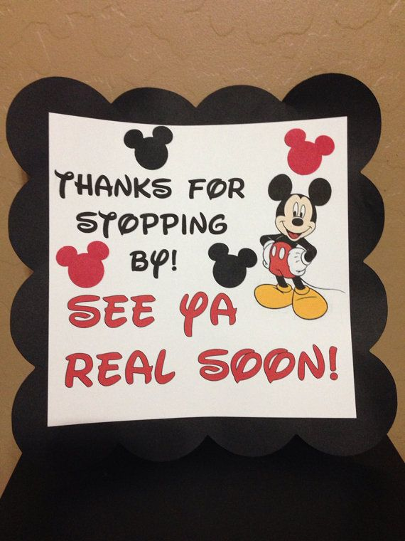 Mickey Mouse Minnie Mouse Disney Birthday Party Thanks For Stopping By Sign Banner