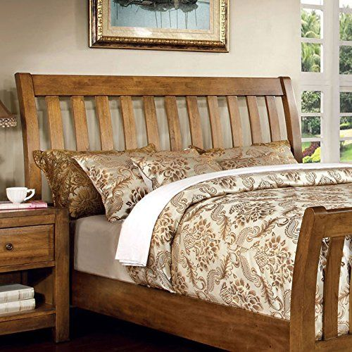 Conrad Country Style Rustic Oak Finish Cal King Size Bed ...