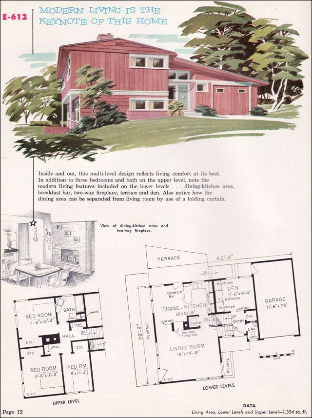 Split Level New House Plans Vintage House Plans Mid Century House