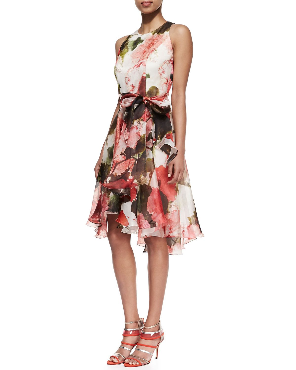 CARMEN MARC VALVO Floral Silk Sleeveless Cocktail Dress Coral Floral $595 & FREE WORLD SHIPPING..PICK UP YOUR ORDER FROM US AND RECEIVE 10% OFF