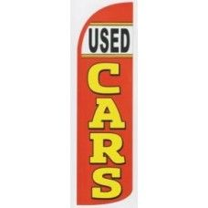 Used cars auto dealer business windless swooper feather sign banner flag 16ft tall red yellow