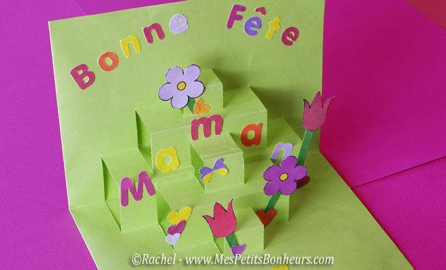 Extrêmement carte pop up fête des mères découpage collage | Ecole - Fête des  BC72