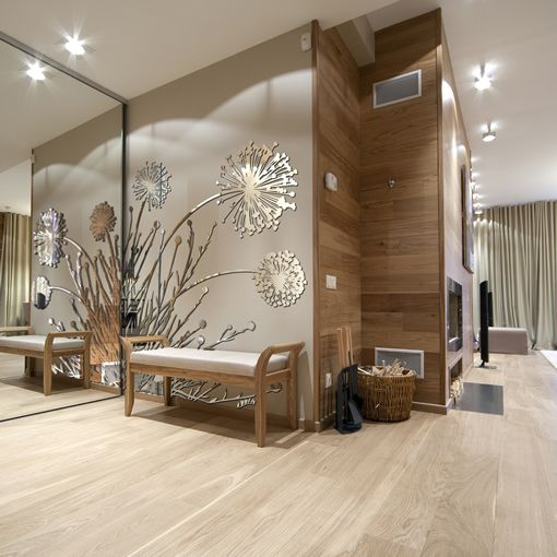 Biophilic Design - Plant, Wood And Mirror Wall Feature In A Living