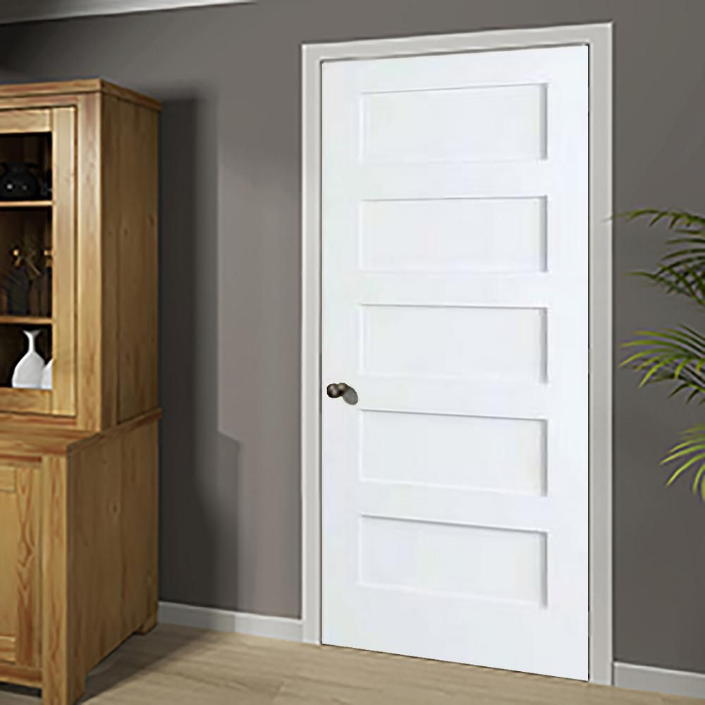 Kimberly Bay 36 In X 80 In White 5 Panel Shaker Solid Core Wood