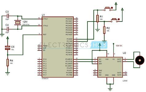 interfacing dc motor with 8051 microcontroller using l293d rh pinterest com 8051 microcontroller circuit diagram explanation 8051 microcontroller schematic diagram