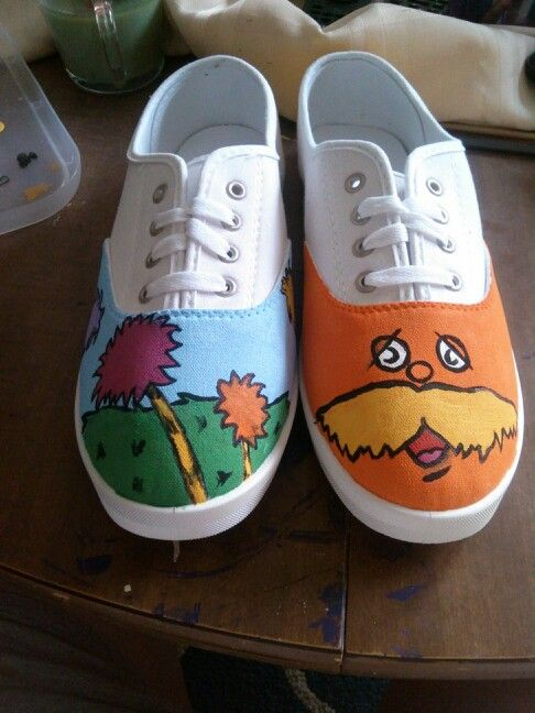Diy The Lorax Shoes Hand Painted Painted Shoes Diy Diy Shoes Painted Canvas Shoes