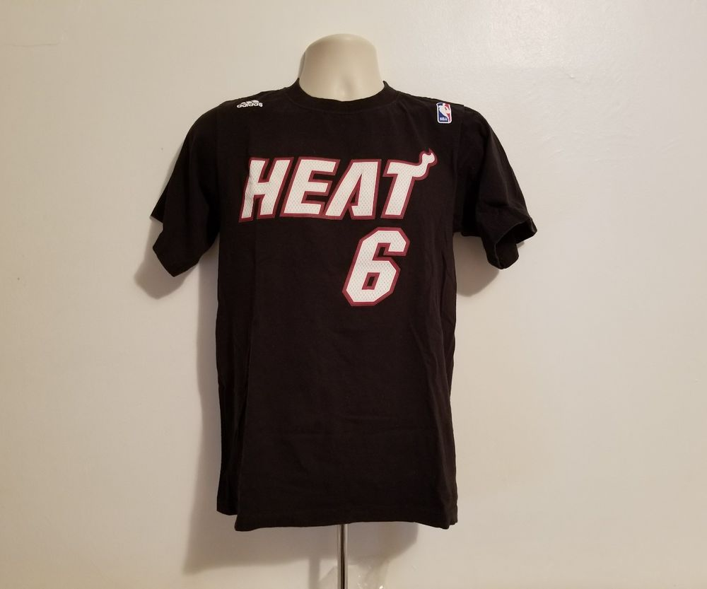 uk availability 78efe 46f89 Lebron James Miami Heat #6 Adidas Adult Small Black TShirt ...