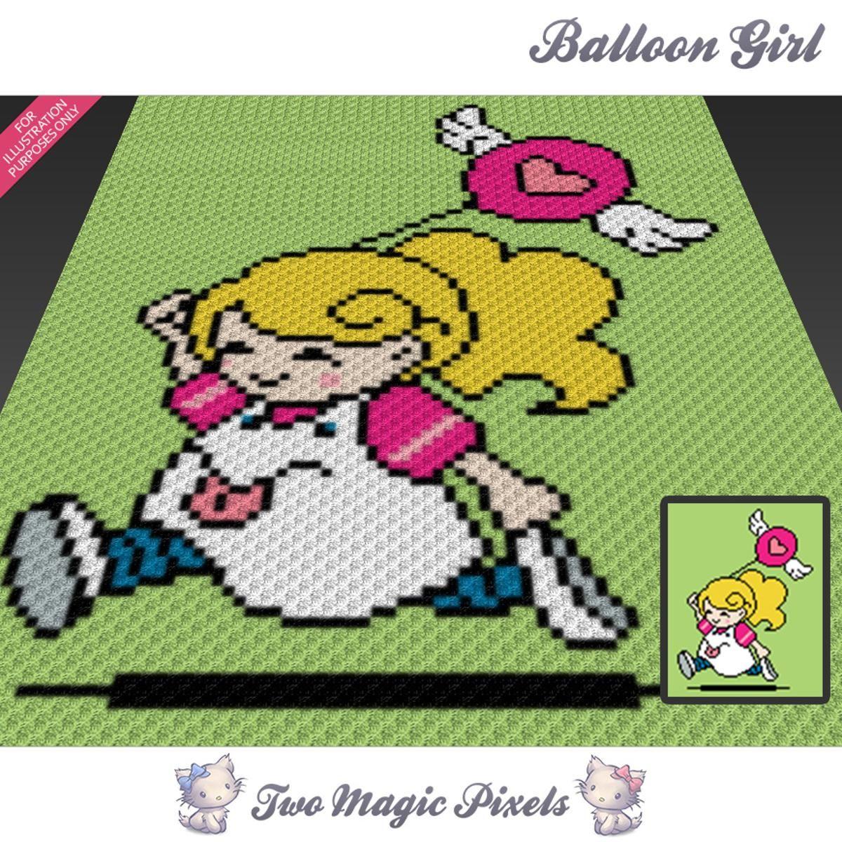 Balloon Girl (sc tss c2c cross stitch)