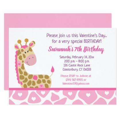 Pink Giraffe Valentines Day Birthday Invitation  Invitations