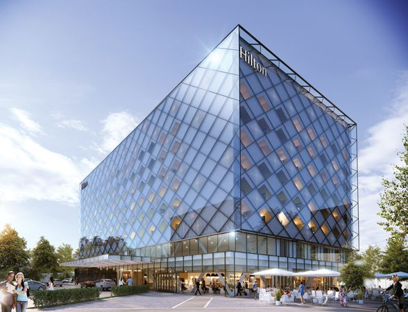 Curtain Wall Building Design : Hilton tushino hotel design diamond effect curtain