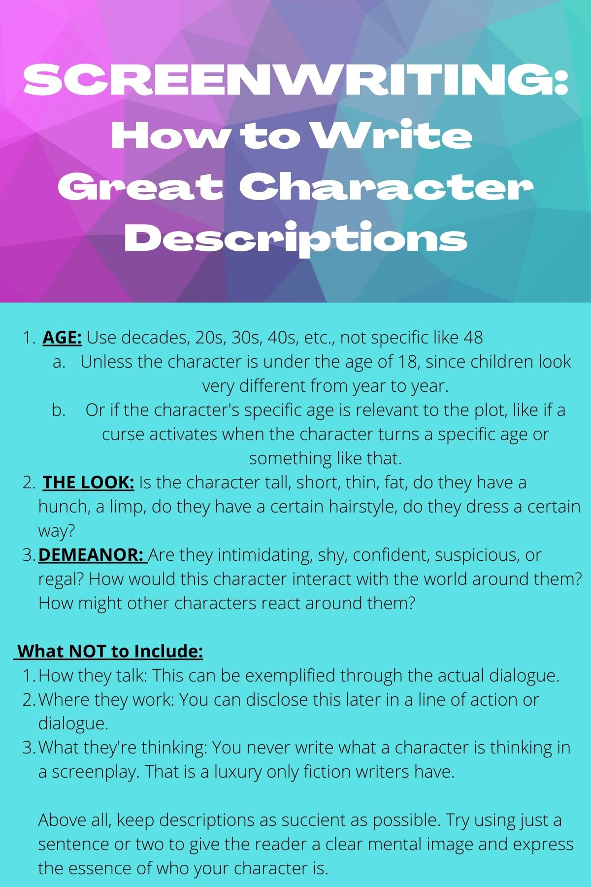 Predownload: How To Write Great Character Descriptions In Your Screenplay Book Writing Tips Screenwriting Screenwriting Tips [ 1800 x 1200 Pixel ]