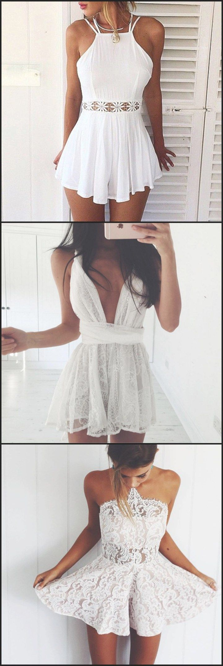 760f70bfc23f2 Romper Dress White Lace Chiffon Sleeveless Spaghetti Strap Playsuit - Cute  Summer Outfit Ideas for Teens at Brikiniz.com #cruiseoutfitsforteens # ...