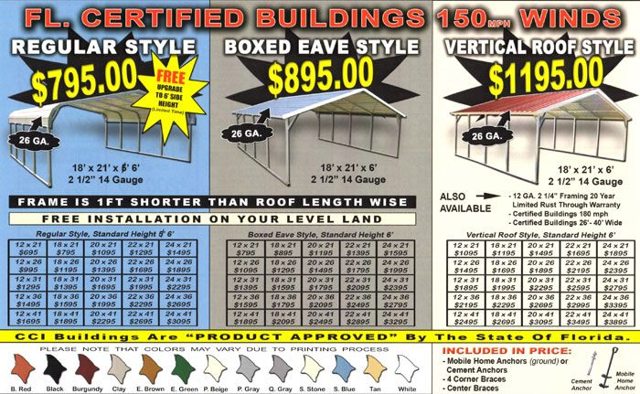 Buy Carports In Florida And Save Alan S Factory Outlet Steel Carports Metal Carports Custom Metal Buildings
