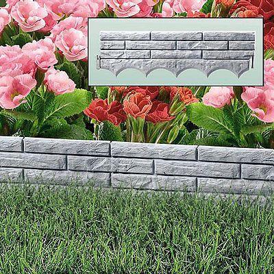 Grey Brick Wall Garden Border Plastic Lawn Edging Flower Bed Grass Path Liner