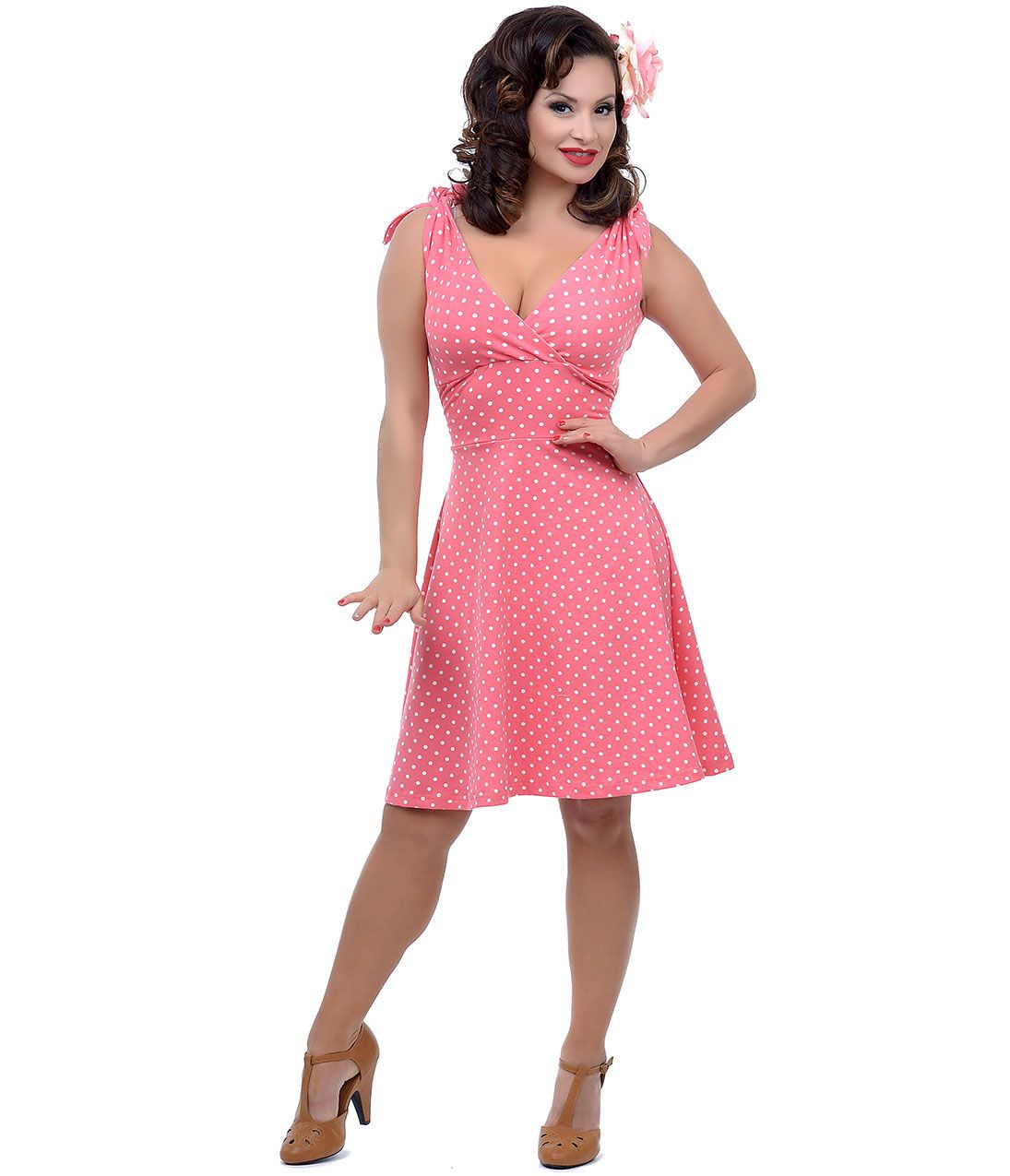 Cute pinup dress. Coral White Dot Mandie Bee Nice Knit Dress (41397 ...