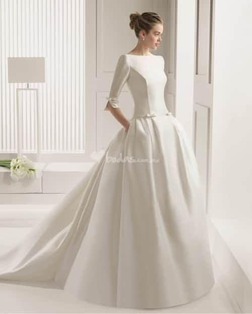 vestidos de novia con mangas tres cuartos | diseño en 2019