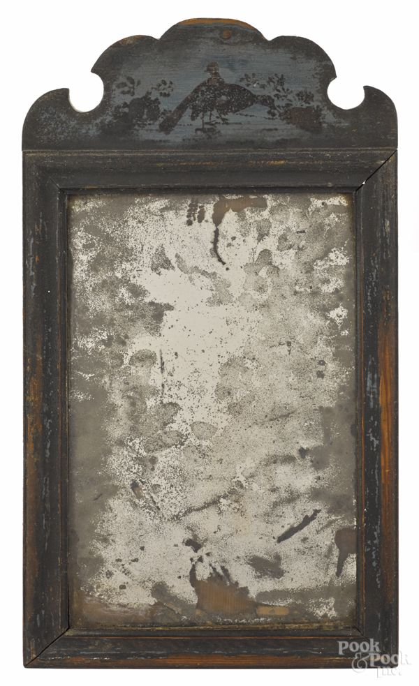 Queen Anne Pine Looking Glass C1740 Antique Mirror Frame Old