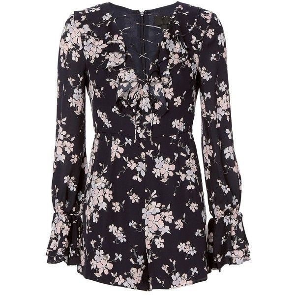 Intermix Women's Thali Floral Romper (€175) ❤ liked on Polyvore featuring jumpsuits, rompers, playsuits, dresses, tops, floral, long-sleeve romper, navy rompers, long sleeve romper and long sleeve floral romper