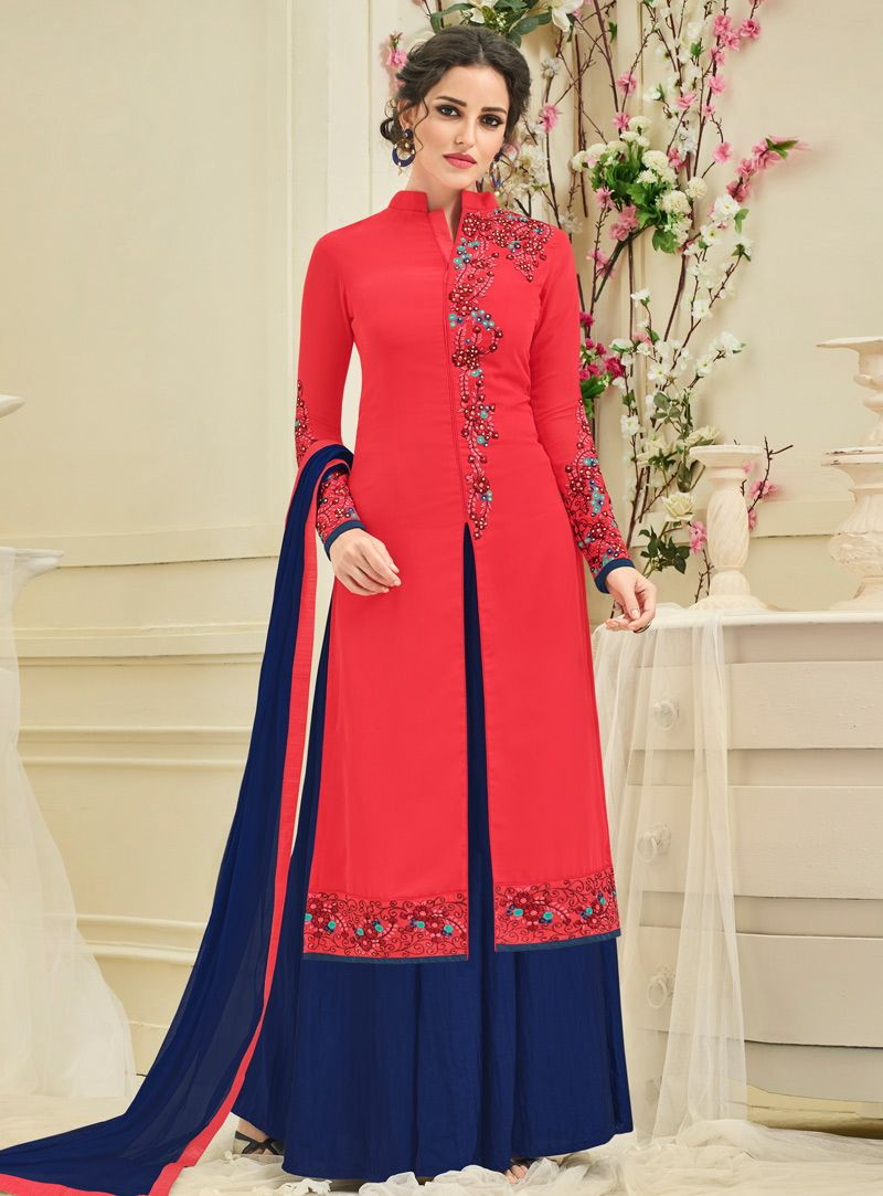 bff2a32124 Red Georgette Palazzo Style Suit 118263 | Styles | Palazzo suit ...