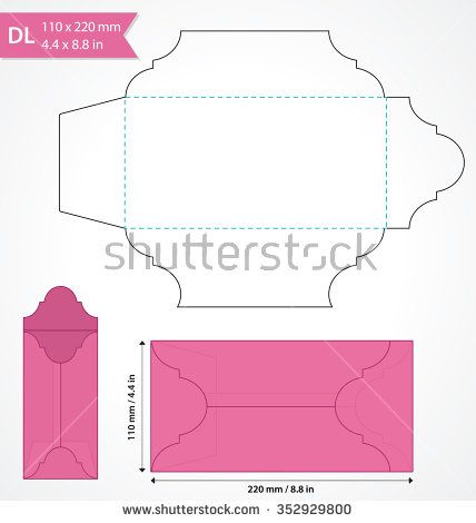 Die cut vector envelope template Standard DL size envelope to hold - fresh wedding invitation vector templates free download