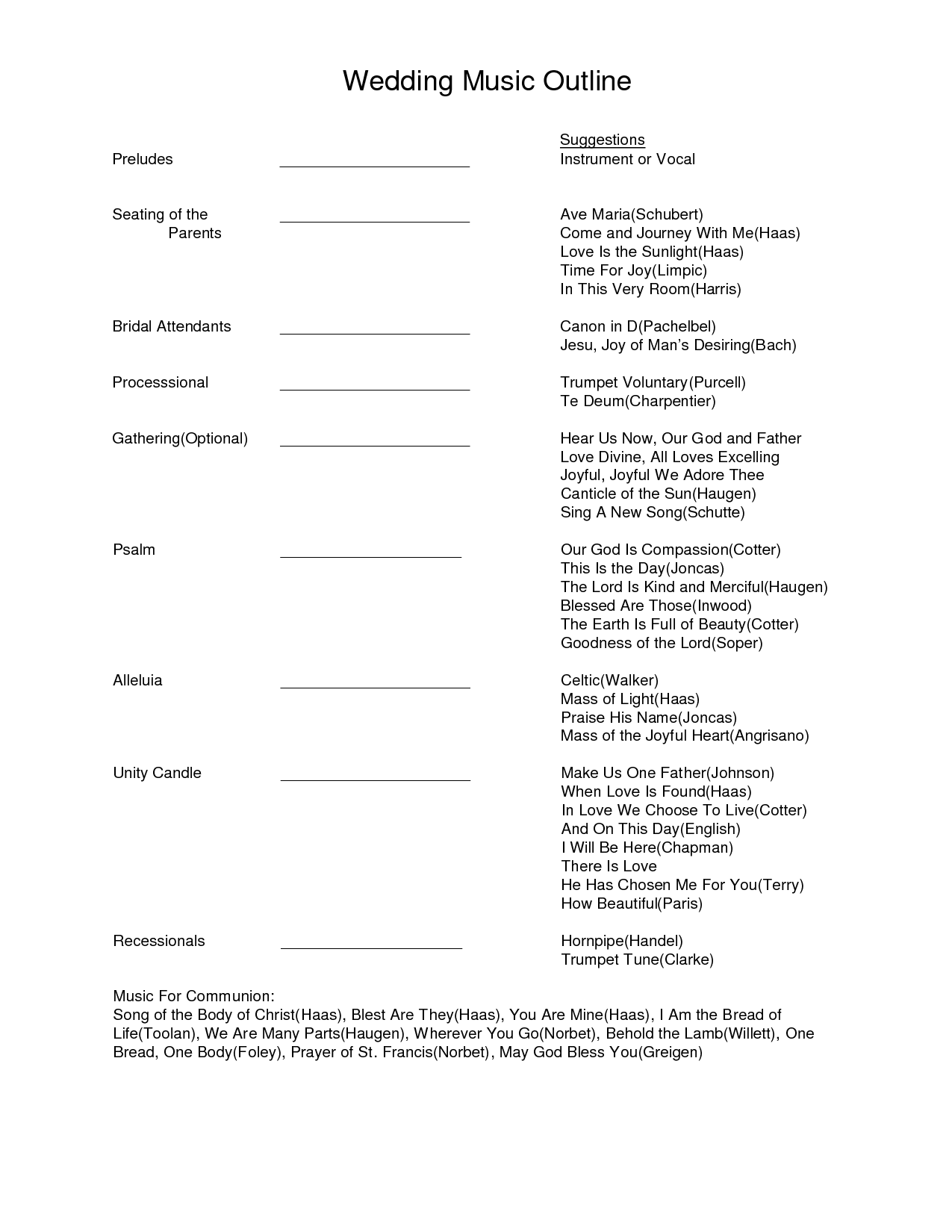 Wedding Music Outline Document Sample Wedding Music