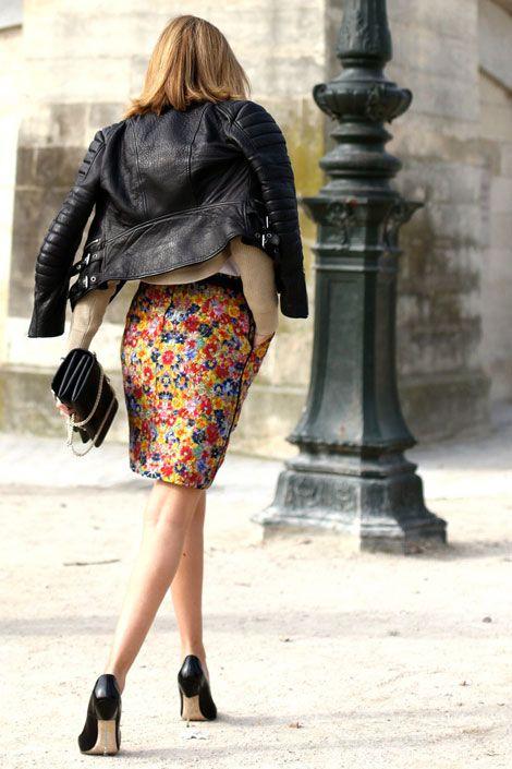 floral skirt + leather jacket