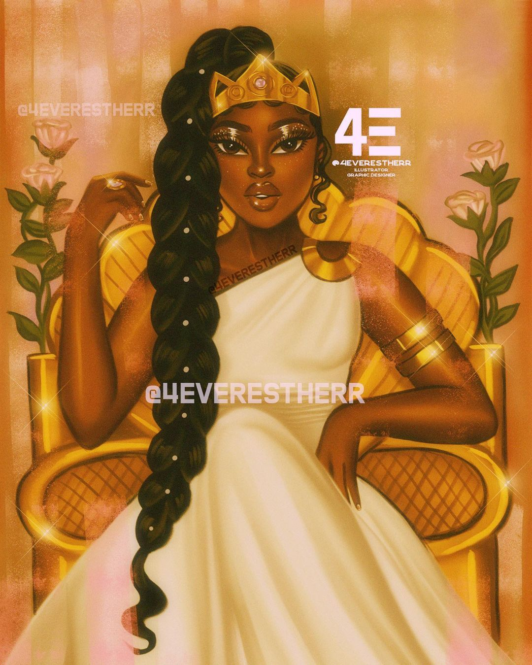 Estherr La Main D Or On Instagram Queenin Know Your Worth Then Add Tax Illu In 2021 Drawings Of Black Girls Black Girl Cartoon Black Love Art