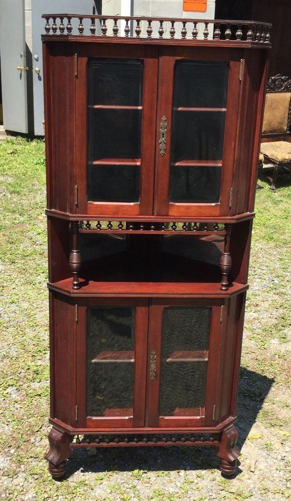 R.j. horner mahogany beveled glass corner china cabinet   Corner ...