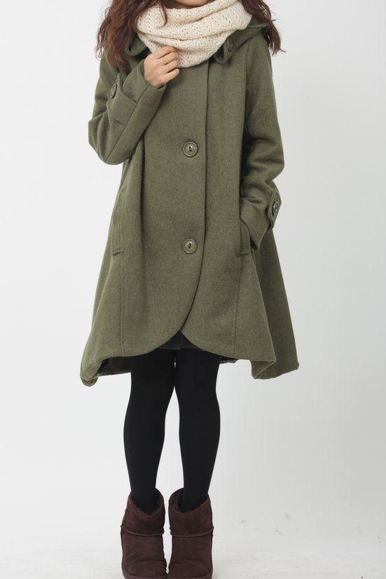green cloak wool coat Hooded Cape women Winter wool coat