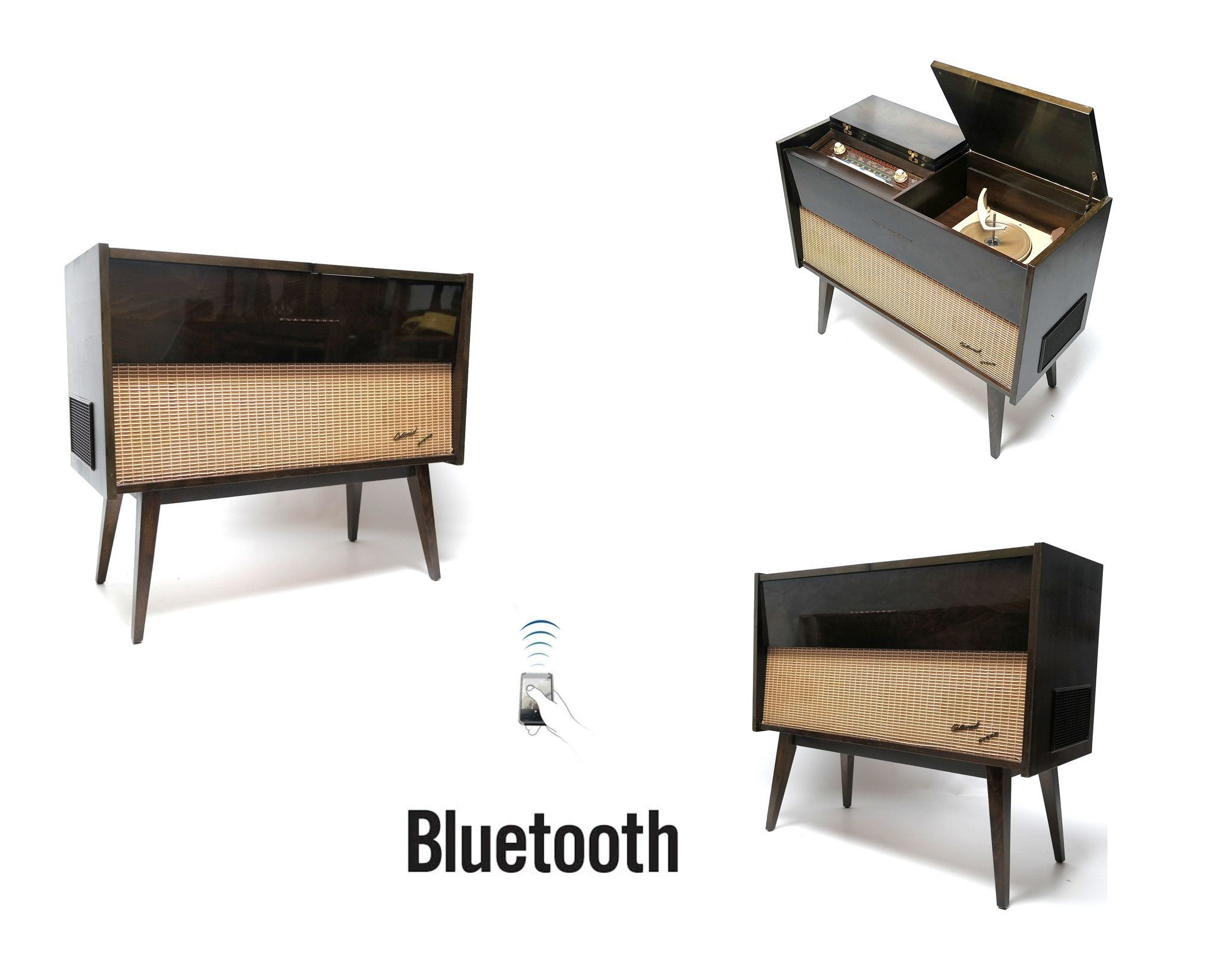 Mid Century Modern Stereo Console By Blaupunkt Record Changer