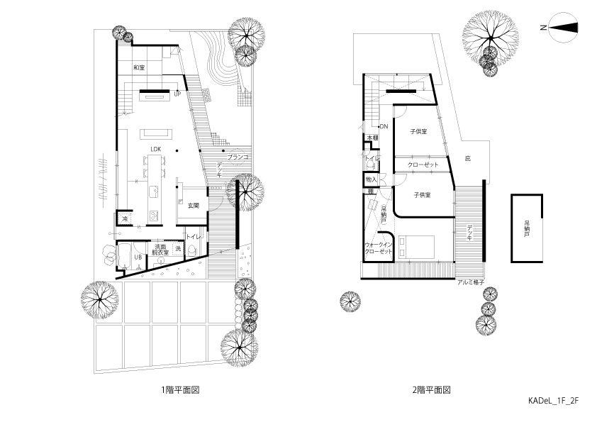 とおり庭の家 建築実例 株式会社kadel 二世帯住宅 間取り
