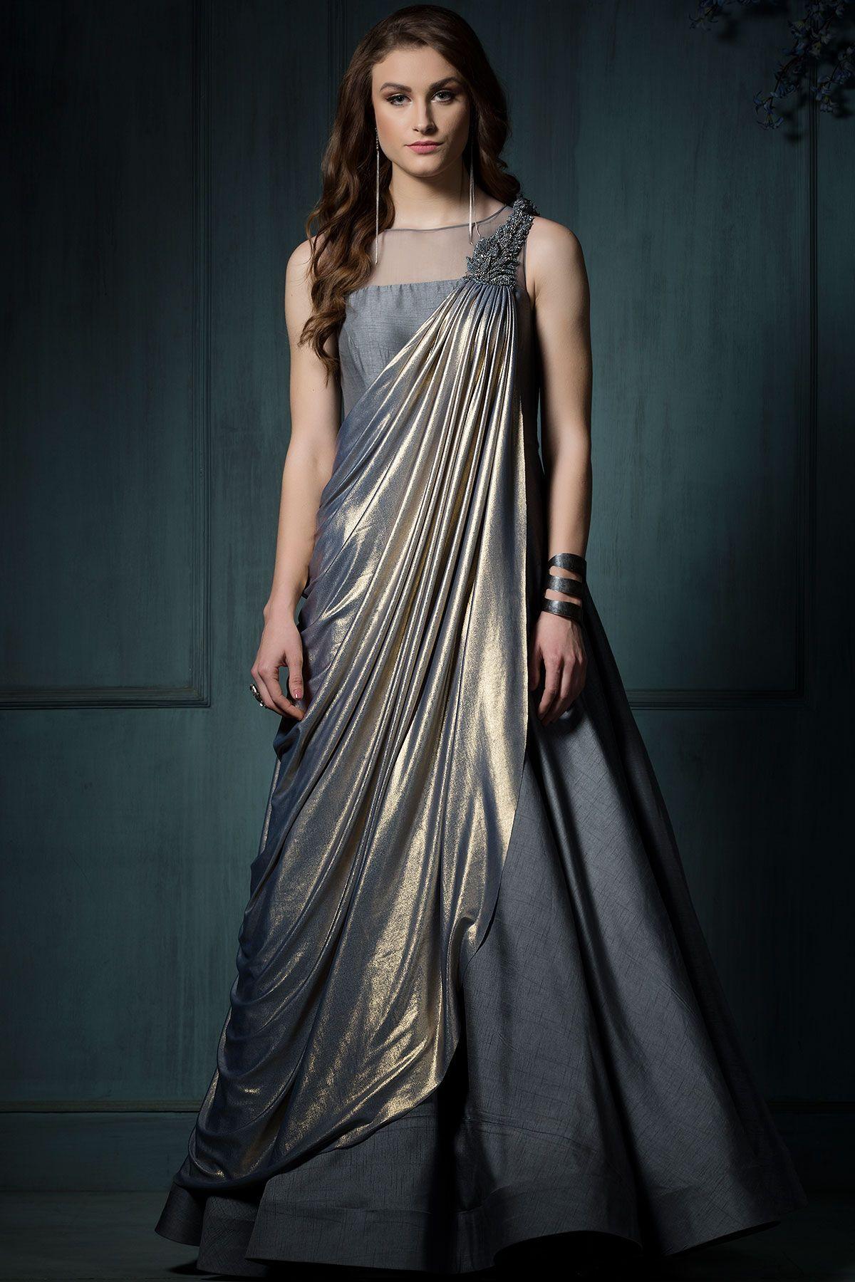 7954d1e607e41 Buy Grey   Gold Lycra Applique Embroidered Saree Online