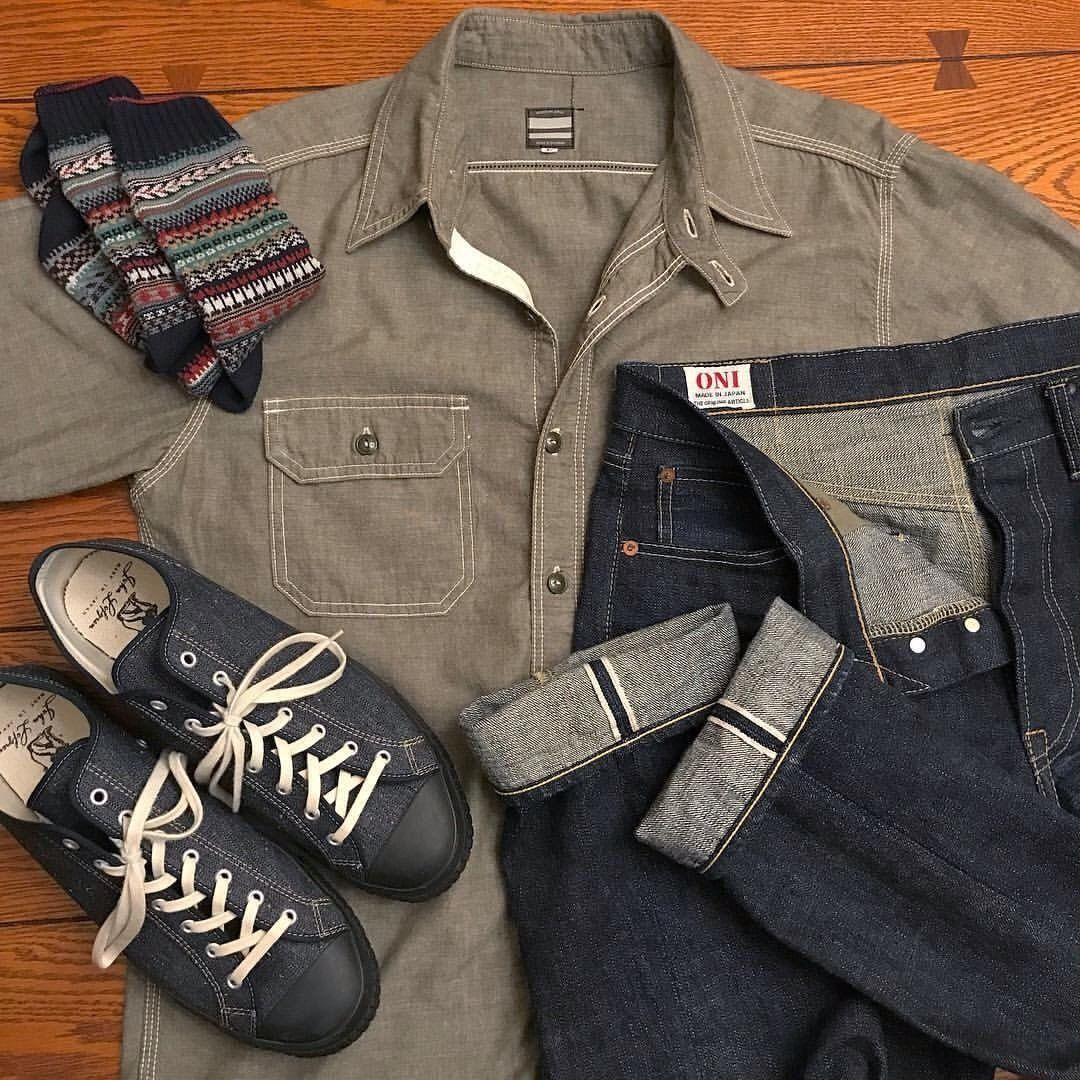 "94090956969b4 redand51ue  ""Today s theme  Made in Japan - Oni 0277 14oz jeans - Momotaro  chambray shirt - John Lofgren Champion sneakers in sugar cane denim - Chup  socks ..."
