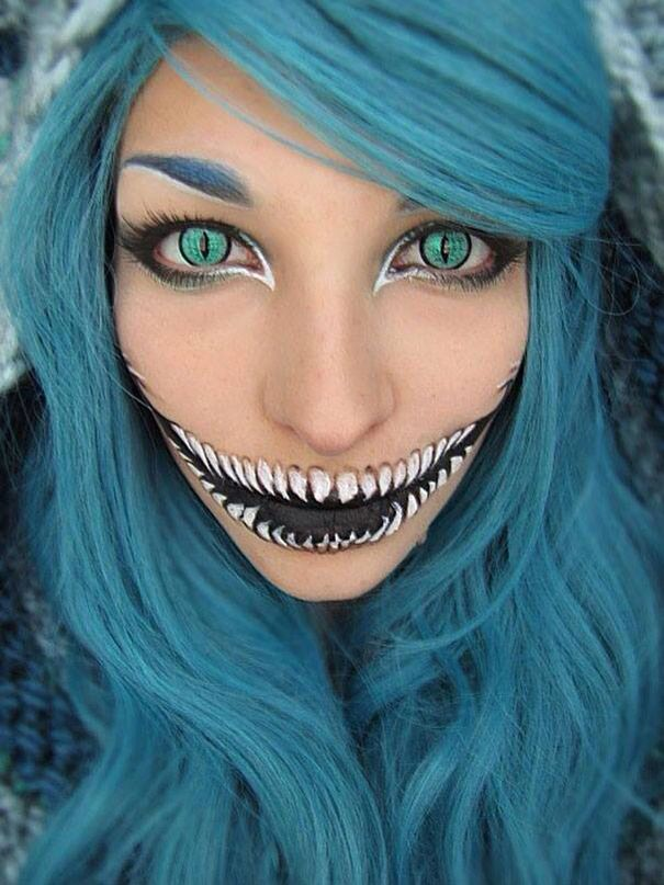 Blue Hair Hallowen Girl Halloween Make Cadilar Bayrami Makyaji Korku Makyaji