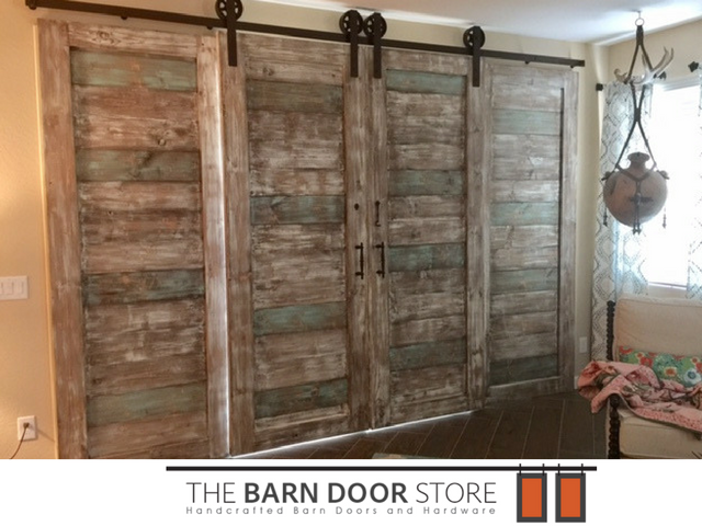 This Barn Door System Covers An Arcadia Sliding Door Leading To Our Clients  Patio. After