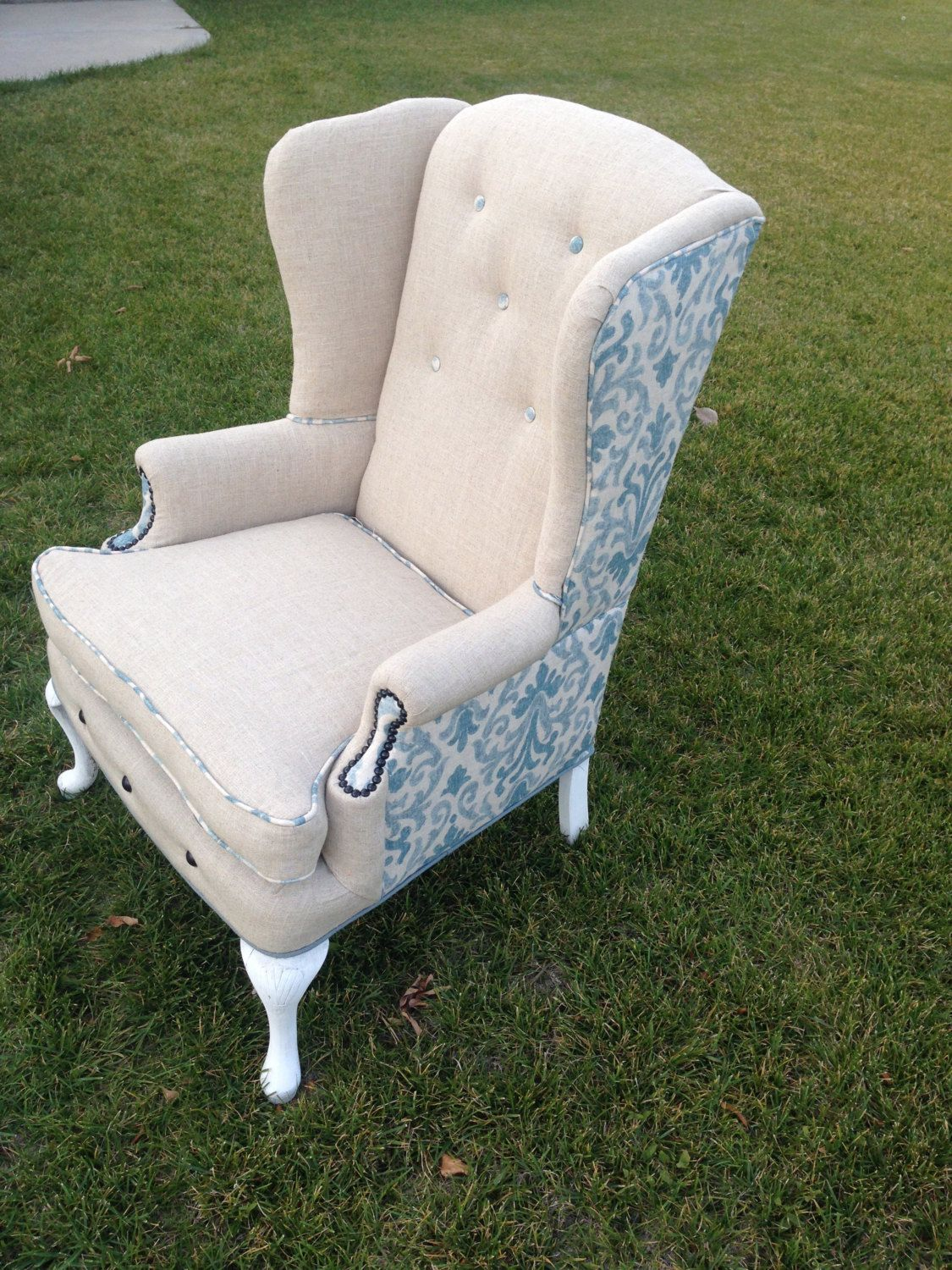 Custom Linen and Blue Wing Back Chair by BlueChairUpholstery on Etsy