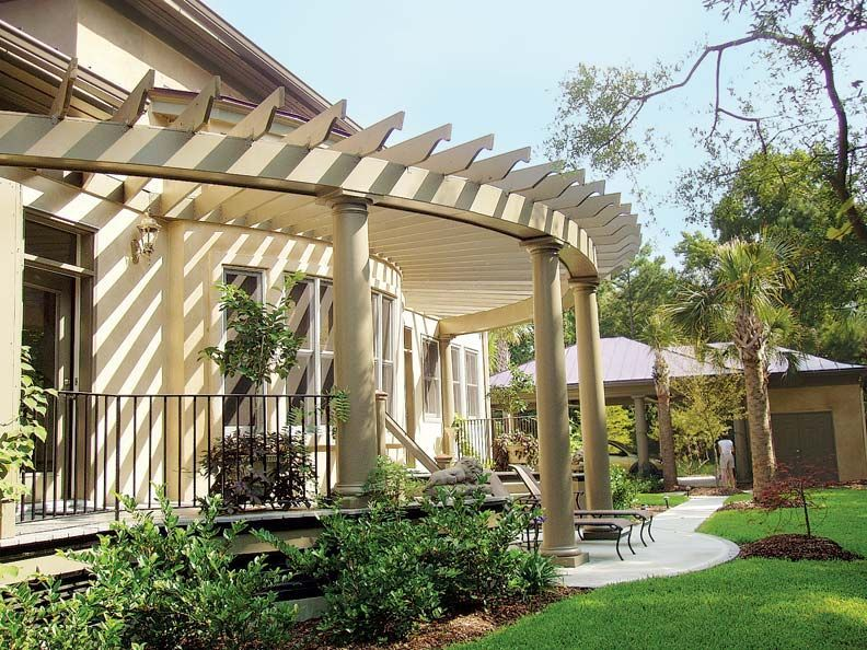 """A """"true pergola"""" attached to the house is carried by one row of columns in design #1018 from Chadsworth Columns. #Designs #Gardens #OldHouse #Pergola #Pergola diy #Pergola modern #Pergola screen #Pergola wall"""
