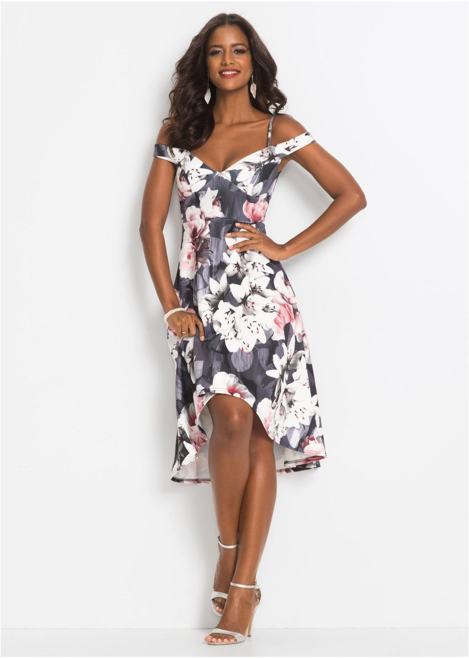 Carmen-Kleid mit Blumenprint schwarz/grau/rosa - BODYFLIRT