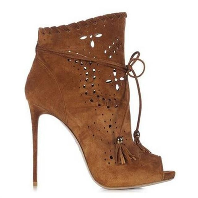 Fashion Cutout Suede peep toe booties
